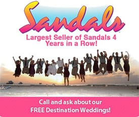 Sandals Largets Seller of Sandals Resorts 4 years in a row.