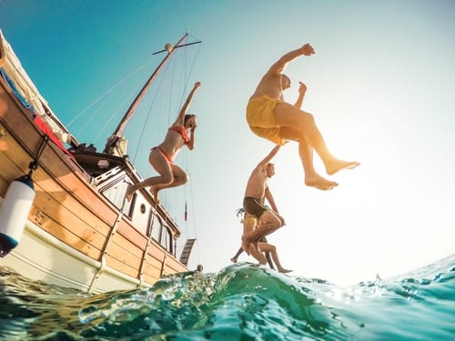 travelers jumping