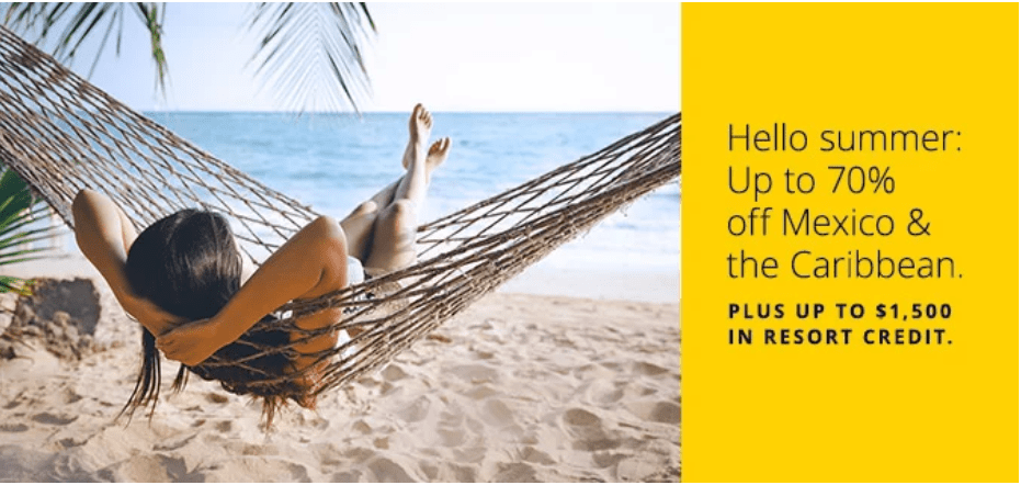 """Picture of woman in hammock on beach with text """"Hello Summer: Up to 70% off Mexico & Caribbean."""""""